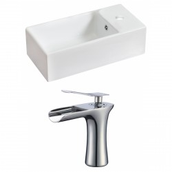American Imaginations AI-17831 Rectangle Vessel Set In White Color With Single Hole CUPC Faucet