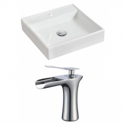 American Imaginations AI-17841 Square Vessel Set In White Color With Single Hole CUPC Faucet