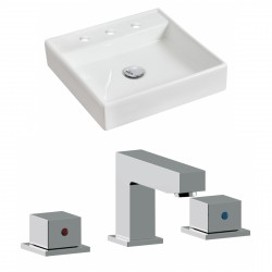 American Imaginations AI-17843 Square Vessel Set In White Color With 8-in. o.c. CUPC Faucet