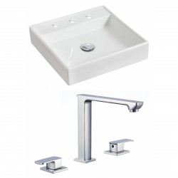 American Imaginations AI-17844 Square Vessel Set In White Color With 8-in. o.c. CUPC Faucet