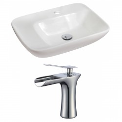 American Imaginations AI-17845 Rectangle Vessel Set In White Color With Single Hole CUPC Faucet