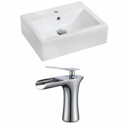 American Imaginations AI-17847 Rectangle Vessel Set In White Color With Single Hole CUPC Faucet