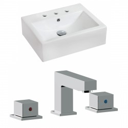 American Imaginations AI-17849 Rectangle Vessel Set In White Color With 8-in. o.c. CUPC Faucet