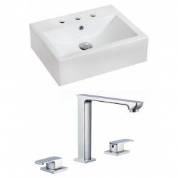 American Imaginations AI-17850 Rectangle Vessel Set In White Color With 8-in. o.c. CUPC Faucet
