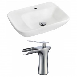 American Imaginations AI-17851 Rectangle Vessel Set In White Color With Single Hole CUPC Faucet