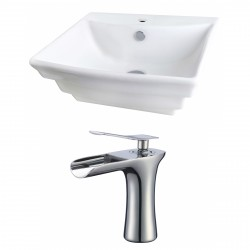 American Imaginations AI-17853 Rectangle Vessel Set In White Color With Single Hole CUPC Faucet