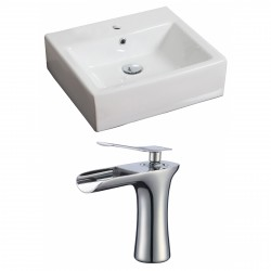 American Imaginations AI-17855 Rectangle Vessel Set In White Color With Single Hole CUPC Faucet