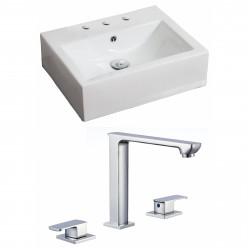 American Imaginations AI-17858 Rectangle Vessel Set In White Color With 8-in. o.c. CUPC Faucet