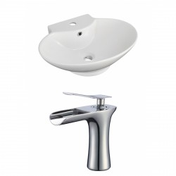 American Imaginations AI-17861 Oval Vessel Set In White Color With Single Hole CUPC Faucet