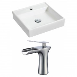 American Imaginations AI-17865 Square Vessel Set In White Color With Single Hole CUPC Faucet