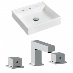 American Imaginations AI-17867 Square Vessel Set In White Color With 8-in. o.c. CUPC Faucet