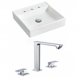 American Imaginations AI-17868 Square Vessel Set In White Color With 8-in. o.c. CUPC Faucet