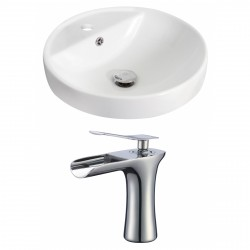 American Imaginations AI-17869 Round Vessel Set In White Color With Single Hole CUPC Faucet