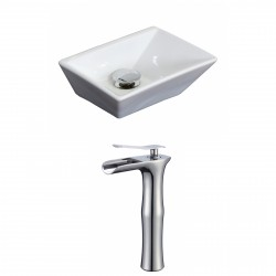 American Imaginations AI-17873 Rectangle Vessel Set In White Color With Deck Mount CUPC Faucet