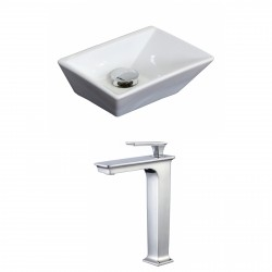 American Imaginations AI-17874 Rectangle Vessel Set In White Color With Deck Mount CUPC Faucet