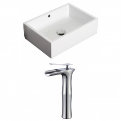 American Imaginations AI-17875 Rectangle Vessel Set In White Color With Deck Mount CUPC Faucet