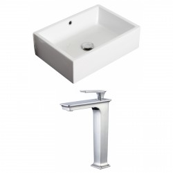 American Imaginations AI-17876 Rectangle Vessel Set In White Color With Deck Mount CUPC Faucet