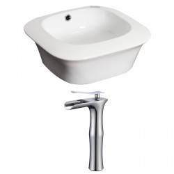American Imaginations AI-17877 Square Vessel Set In White Color With Deck Mount CUPC Faucet