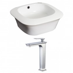 American Imaginations AI-17878 Square Vessel Set In White Color With Deck Mount CUPC Faucet