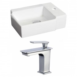 American Imaginations AI-17880 Rectangle Vessel Set In White Color With Single Hole CUPC Faucet