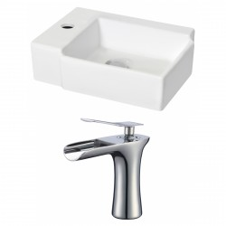 American Imaginations AI-17885 Rectangle Vessel Set In White Color With Single Hole CUPC Faucet