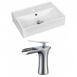 American Imaginations AI-17887 Rectangle Vessel Set In White Color With Single Hole CUPC Faucet