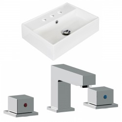 American Imaginations AI-17889 Rectangle Vessel Set In White Color With 8-in. o.c. CUPC Faucet