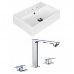 American Imaginations AI-17890 Rectangle Vessel Set In White Color With 8-in. o.c. CUPC Faucet