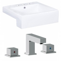 American Imaginations AI-17895 Square Vessel Set In White Color With 8-in. o.c. CUPC Faucet