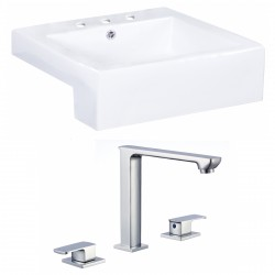 American Imaginations AI-17896 Square Vessel Set In White Color With 8-in. o.c. CUPC Faucet