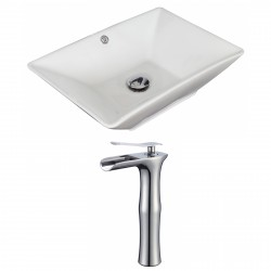 American Imaginations AI-17903 Rectangle Vessel Set In White Color With Deck Mount CUPC Faucet