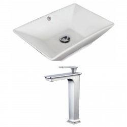 American Imaginations AI-17904 Rectangle Vessel Set In White Color With Deck Mount CUPC Faucet