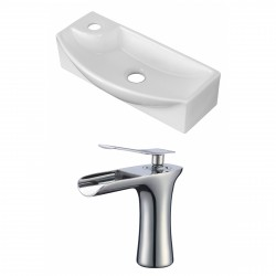 American Imaginations AI-17905 Rectangle Vessel Set In White Color With Single Hole CUPC Faucet