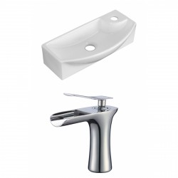 American Imaginations AI-17907 Rectangle Vessel Set In White Color With Single Hole CUPC Faucet
