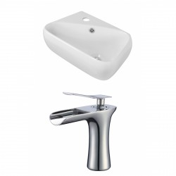 American Imaginations AI-17911 Rectangle Vessel Set In White Color With Single Hole CUPC Faucet