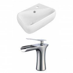 American Imaginations AI-17913 Rectangle Vessel Set In White Color With 8-in. o.c. CUPC Faucet