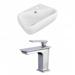 American Imaginations AI-17916 Rectangle Vessel Set In White Color With 8-in. o.c. CUPC Faucet