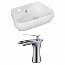 American Imaginations AI-17917 Unique Vessel Set In White Color With Single Hole CUPC Faucet