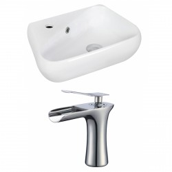 American Imaginations AI-17921 Unique Vessel Set In White Color With Single Hole CUPC Faucet