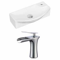 American Imaginations AI-17927 Rectangle Vessel Set In White Color With Single Hole CUPC Faucet