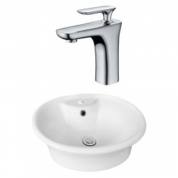 American Imaginations AI-17929 Round Vessel Set In White Color With Single Hole CUPC Faucet
