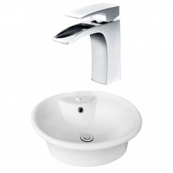 American Imaginations AI-17930 Round Vessel Set In White Color With Single Hole CUPC Faucet