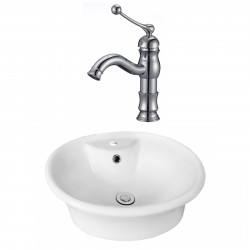 American Imaginations AI-17932 Round Vessel Set In White Color With Single Hole CUPC Faucet