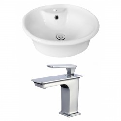 American Imaginations AI-17934 Round Vessel Set In White Color With Single Hole CUPC Faucet
