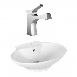 American Imaginations AI-17935 Oval Vessel Set In White Color With Single Hole CUPC Faucet