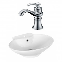 American Imaginations AI-17936 Oval Vessel Set In White Color With Single Hole CUPC Faucet