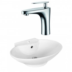 American Imaginations AI-17937 Oval Vessel Set In White Color With Single Hole CUPC Faucet
