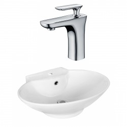 American Imaginations AI-17938 Oval Vessel Set In White Color With Single Hole CUPC Faucet