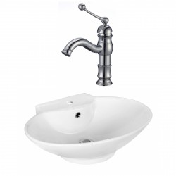 American Imaginations AI-17941 Oval Vessel Set In White Color With Single Hole CUPC Faucet