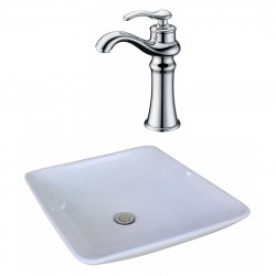 American Imaginations AI-17944 Square Vessel Set In White Color With Deck Mount CUPC Faucet